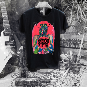 Camiseta Ramonak Miss Anxtiety negra hombre