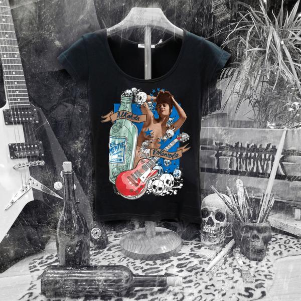Camiseta Ramonak Eh Mertxe Negra Mujer escote